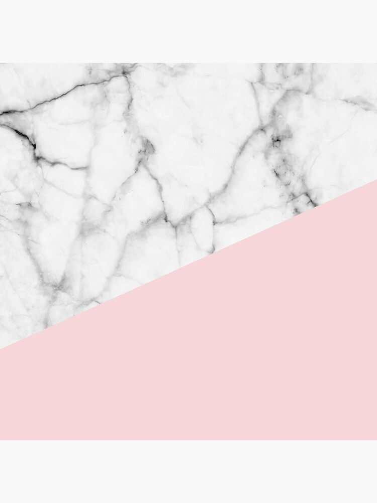 Real White Marble Half Powder Blush Pink by 5mmpaper