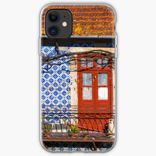 Front Door and Azulejo Wall of Old House in Porto iPhone Soft Case