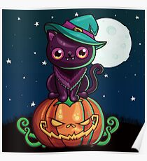 Ferociously Cute Halloween Vampire Witch Kitty Cat Poster