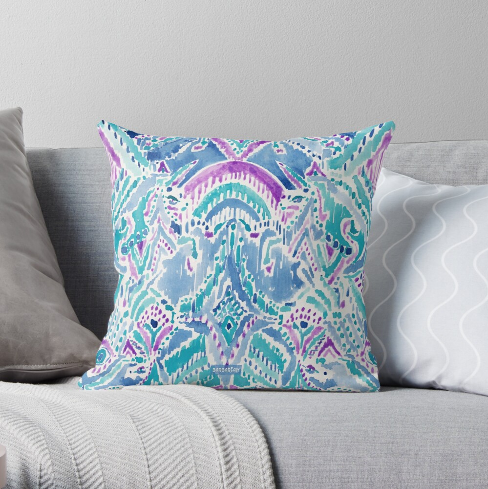 UNICORN DAYDREAMS Mythical Watercolor Tapestry Throw Pillow