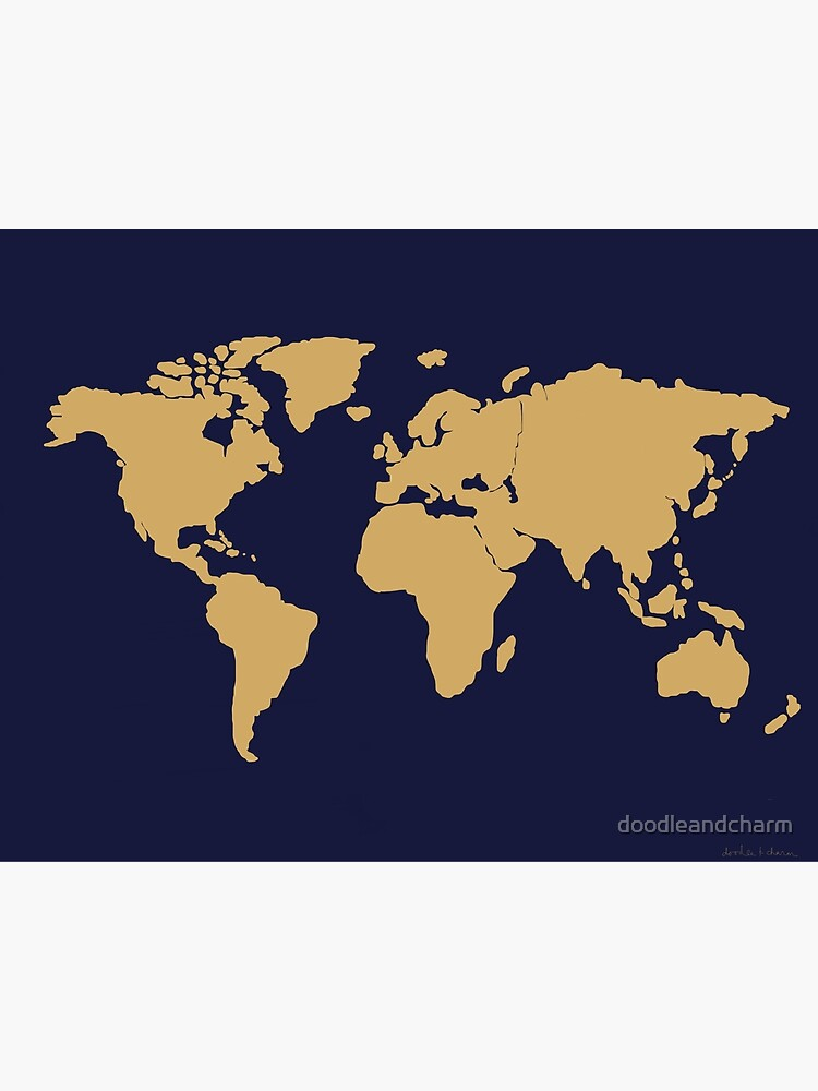World map Silhouette deep sea navy | Metal Print