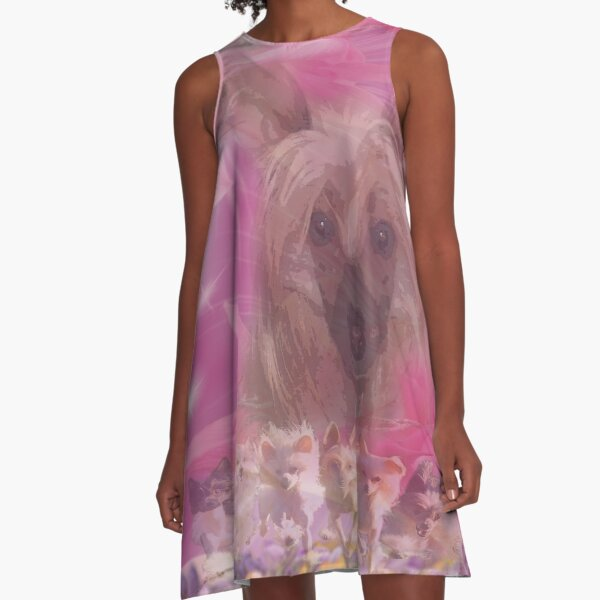 Chinese Crested Dogs , pink lily, Lilien A-Linien Kleid