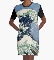 The Great Wave by Katsushika Hokusai Graphic T-Shirt Dress