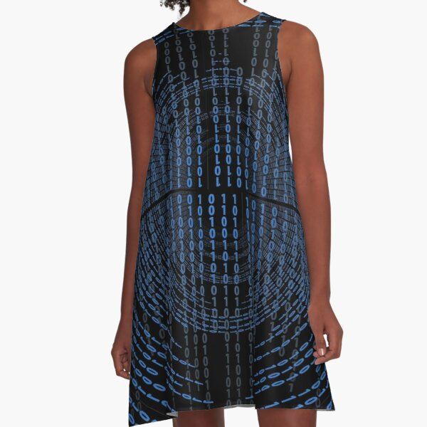 Binary Code A-Line Dress