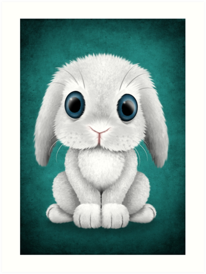 Cute White Baby Bunny Rabbit  by jeff bartels