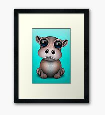 Cute Baby Hippo on Blue Framed Print