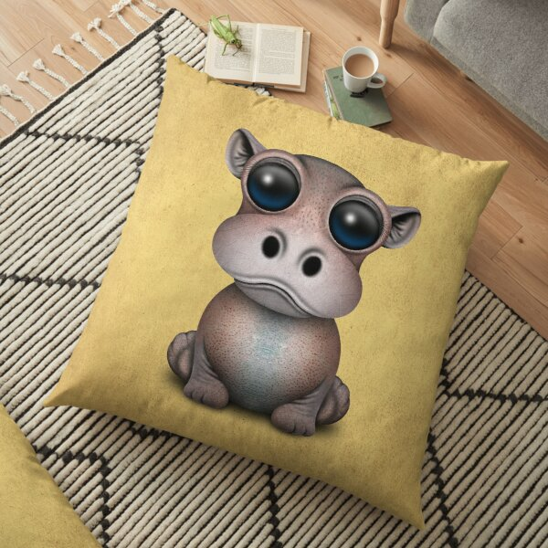 Cute Baby Hippo Floor Pillow