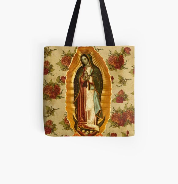 Mexican Virgin Mary of Guadalupe Catholic Religious Christian All Over Print Tote Bag