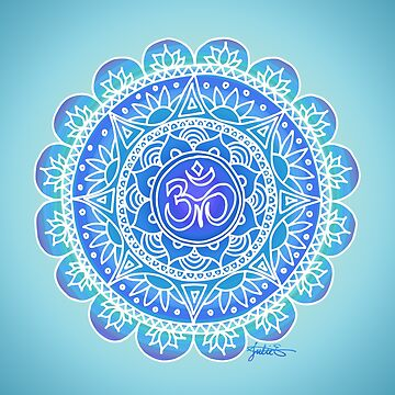Blue Ohm Mandala by julieerindesign