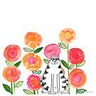 Cat in the flowers by karapeters