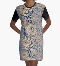 Blue and Gold Mandala Pattern Graphic T-Shirt Dress
