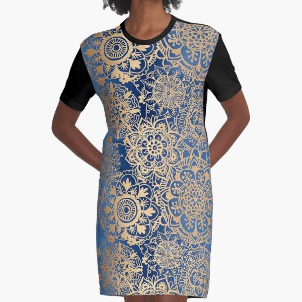 Patrón de mandala azul y oro Vestido camiseta