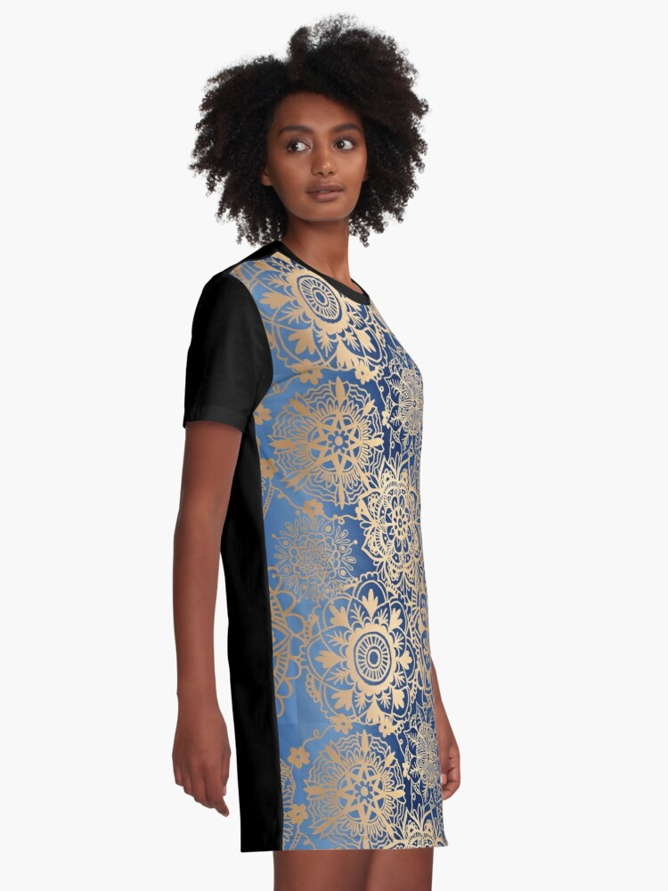 Alternate view of Blue and Gold Mandala Pattern Graphic T-Shirt Dress