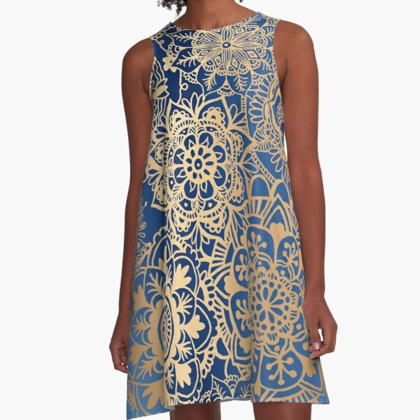Blue and Gold Mandala Pattern A-Line Dress