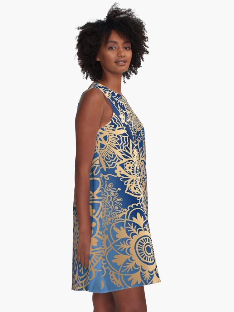Alternate view of Blue and Gold Mandala Pattern A-Line Dress