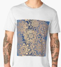 Blue and Gold Mandala Pattern Men's Premium T-Shirt