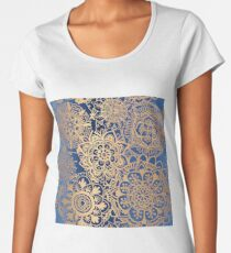 Blue and Gold Mandala Pattern Women's Premium T-Shirt