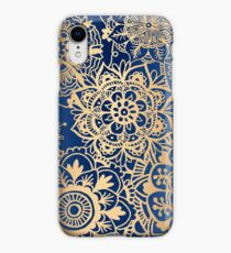 Blue and Gold Mandala Pattern iPhone XR Case