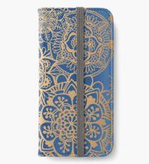 Vinilo o funda para iPhone Patrón de mandala azul y oro