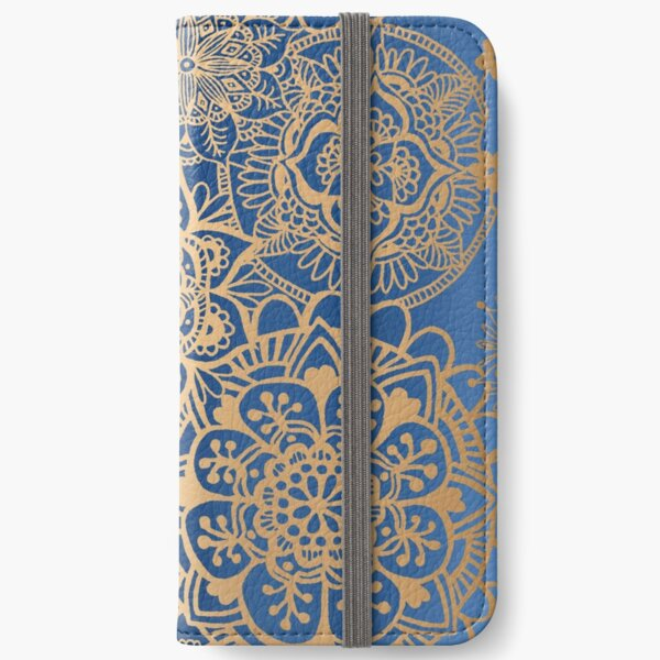 Blue and Gold Mandala Pattern iPhone Wallet