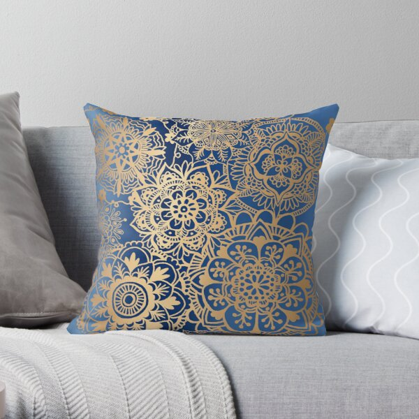 Blue and Gold Mandala Pattern Throw Pillow