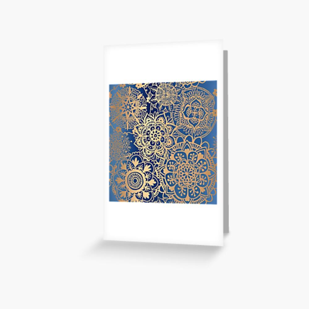 Blau und Goldmandala-Muster Grußkarte