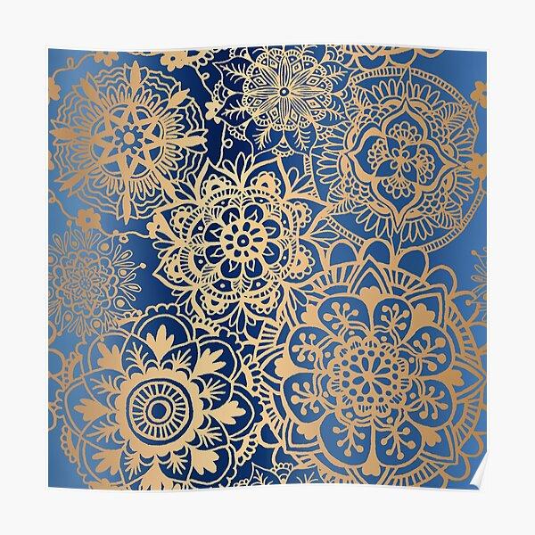 Blau und Goldmandala-Muster Poster