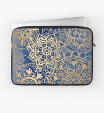 Blue and Gold Mandala Pattern Laptop Sleeve
