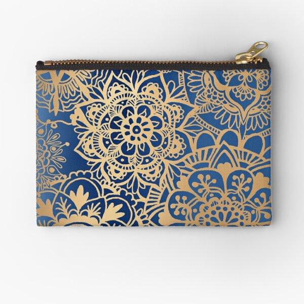 Blue and Gold Mandala Pattern Zipper Pouch