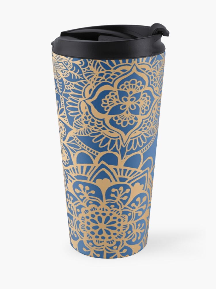 Alternate view of Blue and Gold Mandala Pattern Travel Mug