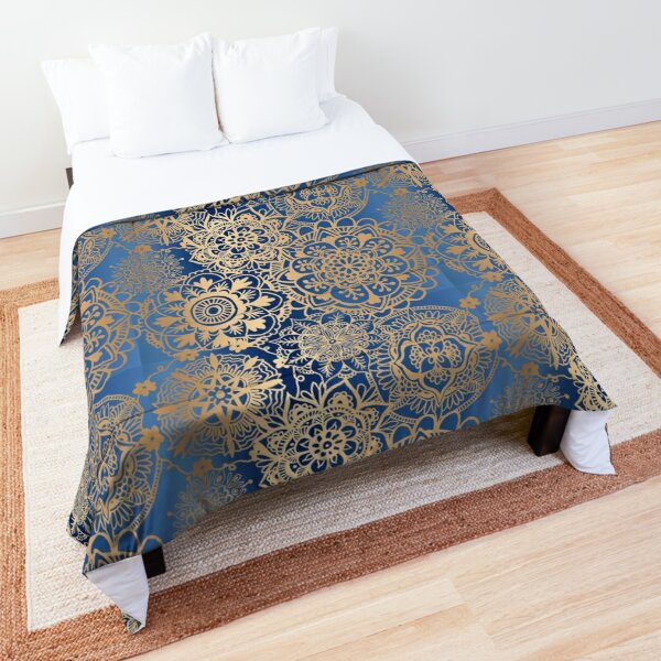 Blue and Gold Mandala Pattern Comforter