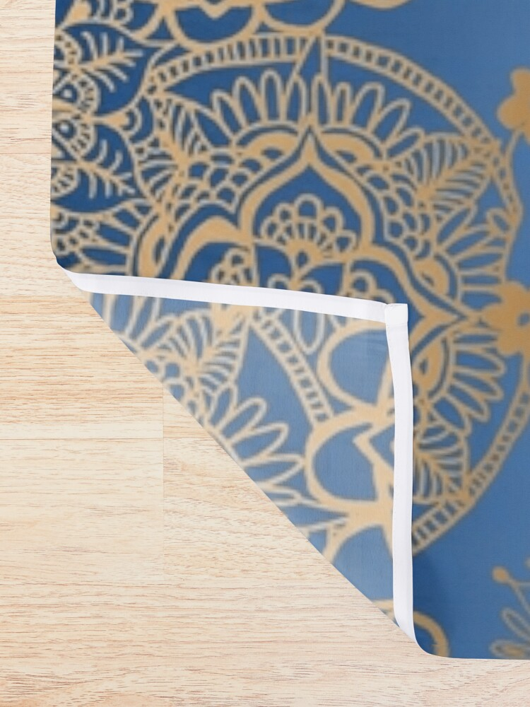 Alternate view of Blue and Gold Mandala Pattern Shower Curtain