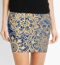 Blue and Gold Mandala Pattern Mini Skirt