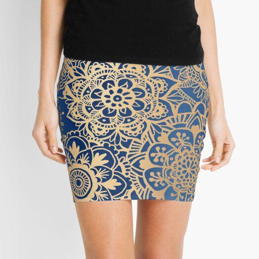 Blue and Gold Mandala Pattern Mini Skirt