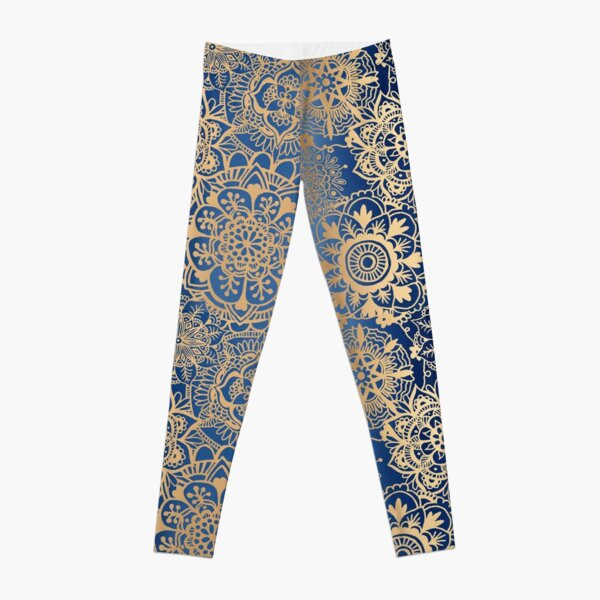 Blue and Gold Mandala Pattern Leggings