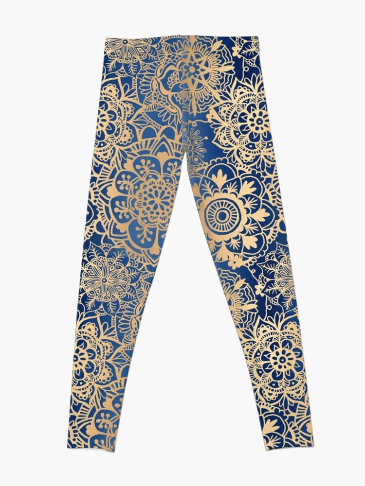 Alternate view of Blue and Gold Mandala Pattern Leggings