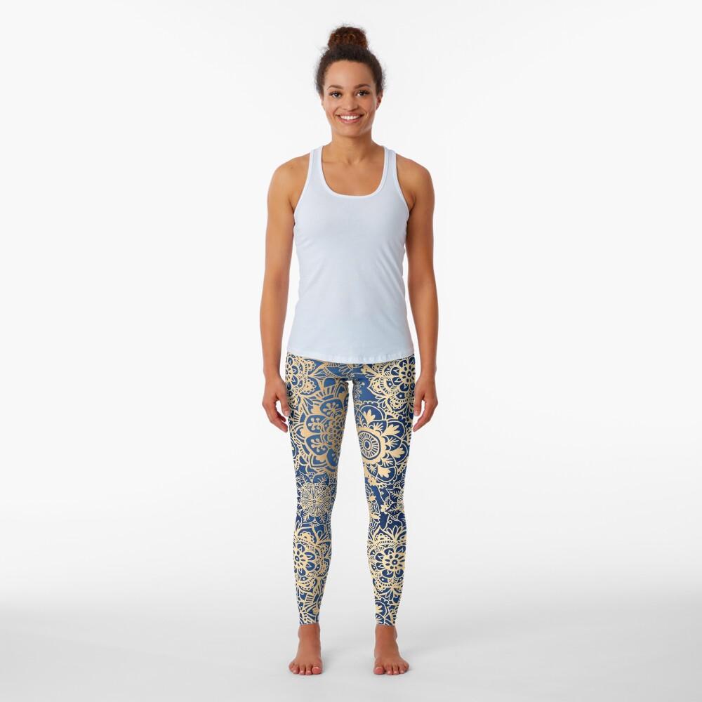Blue and Gold Mandala Pattern Leggings