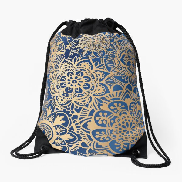 Blue and Gold Mandala Pattern Drawstring Bag