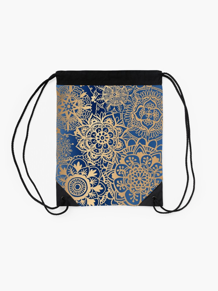Alternate view of Blue and Gold Mandala Pattern Drawstring Bag
