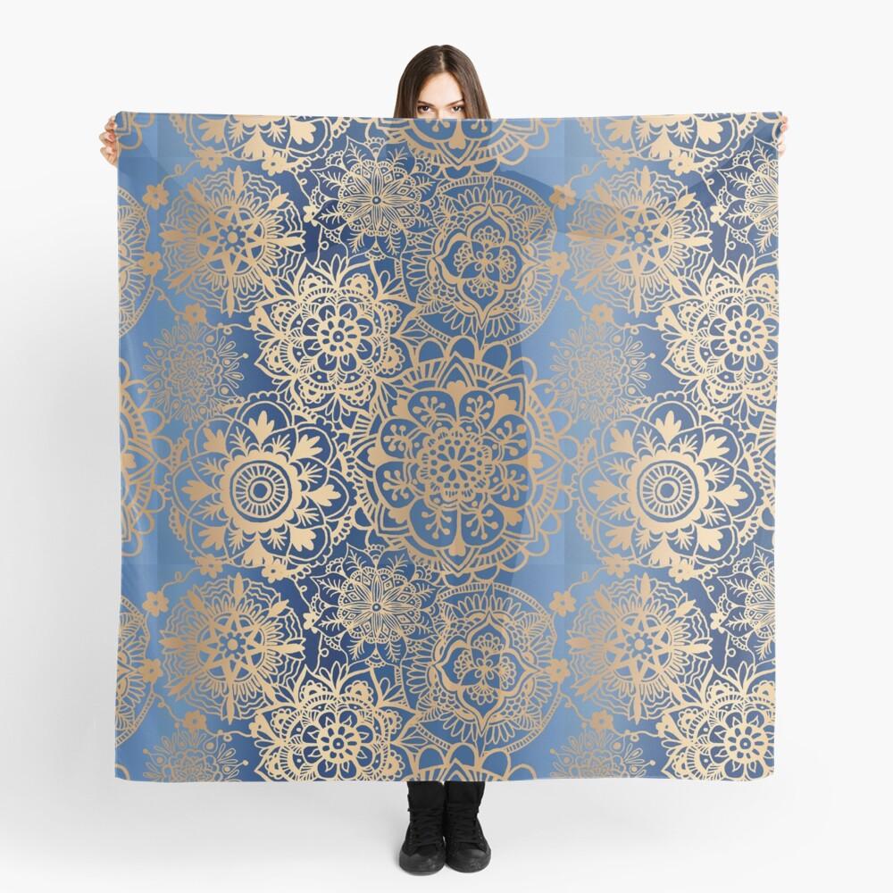 Blue and Gold Mandala Pattern Scarf