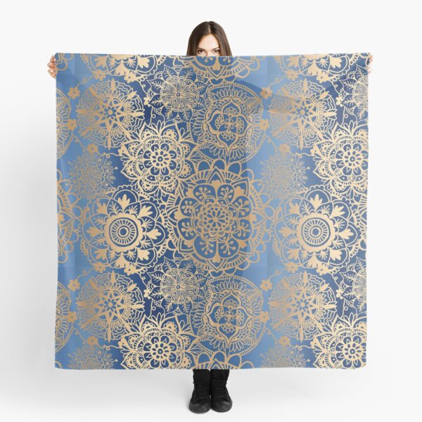 Blue and Gold Mandala Pattern Scarf