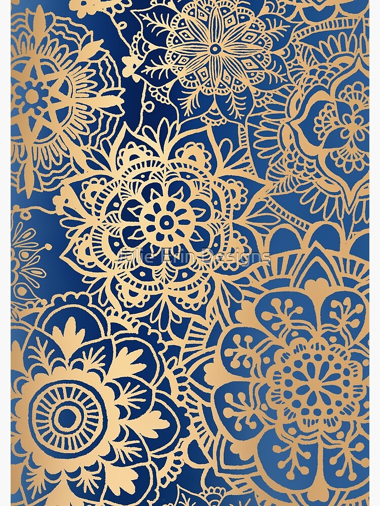 Blue and Gold Mandala Pattern by julieerindesign