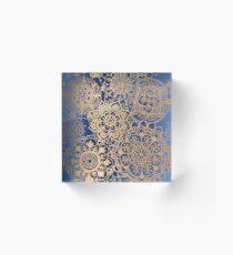 Blue and Gold Mandala Pattern Acrylic Block