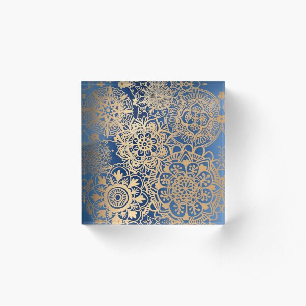 Blue and Gold Mandala Pattern Acrylic Block