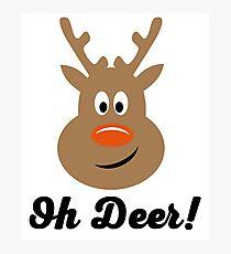 Oh Deer - Christmas Reindeer Photographic Print