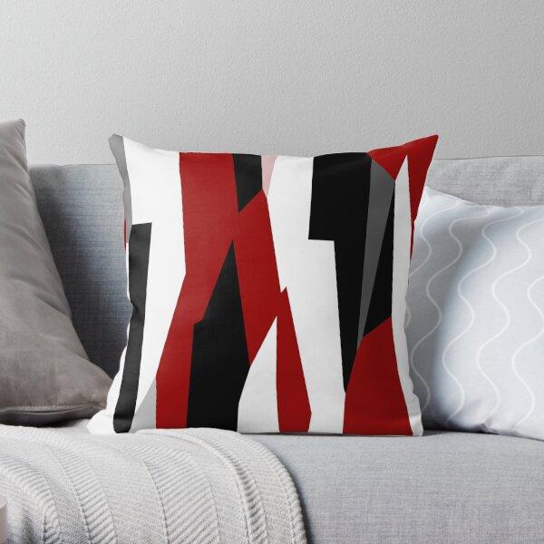 résumé noir et blanc rouge Coussin
