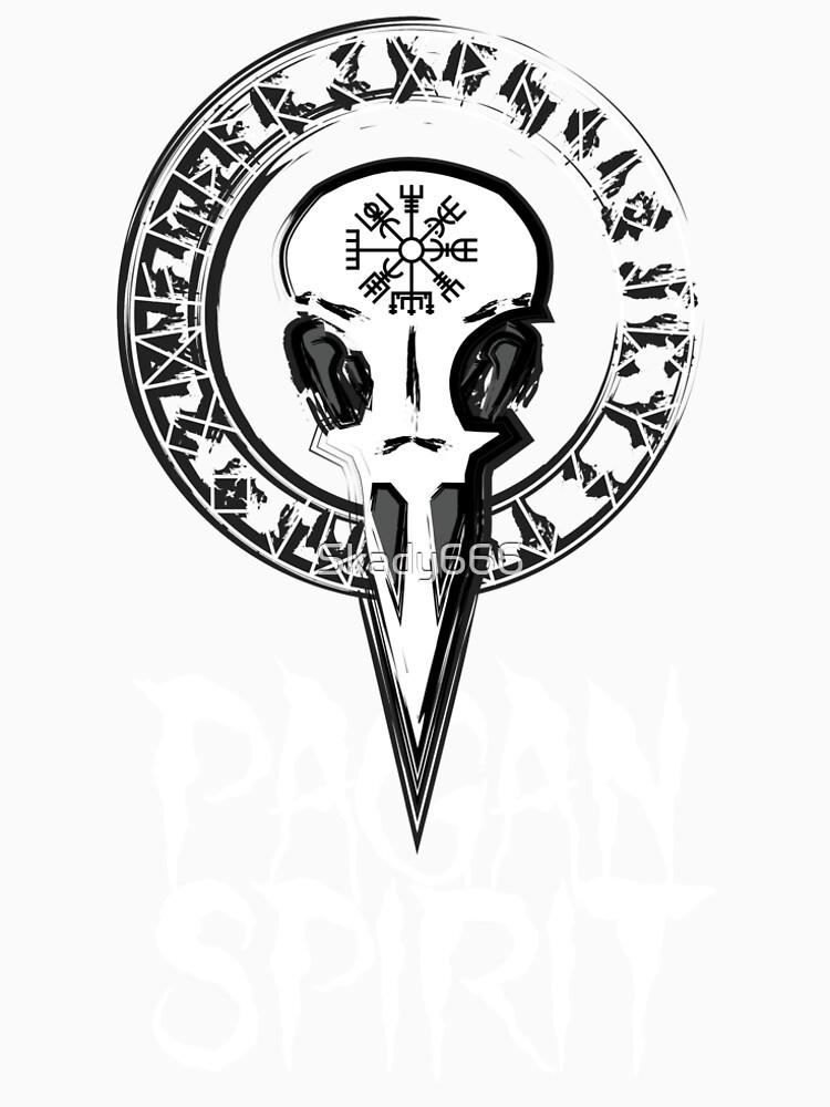 Espíritu Pagan - cráneo del cuervo con runas círculo y símbolo de Odin Schutz de Skady666