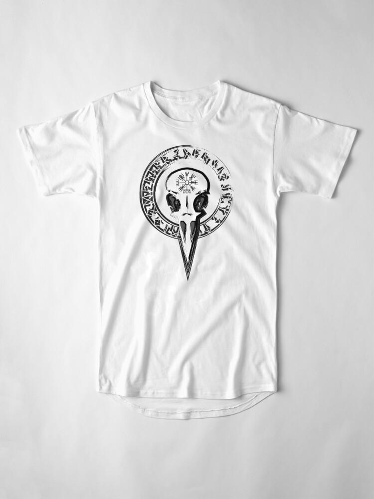 Vista alternativa de Camiseta larga Espíritu Pagan - cráneo del cuervo con runas círculo y símbolo de Odin Schutz