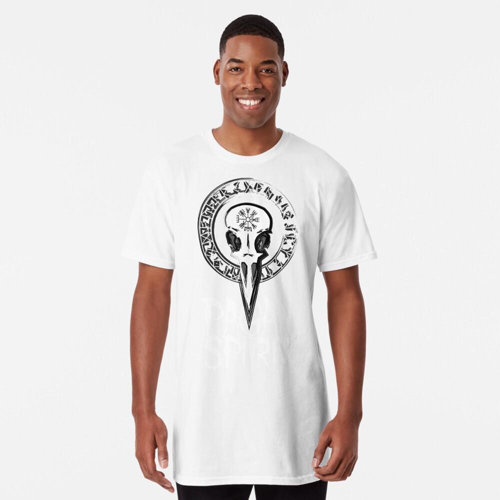 Espíritu Pagan - cráneo del cuervo con runas círculo y símbolo de Odin Schutz Camiseta larga