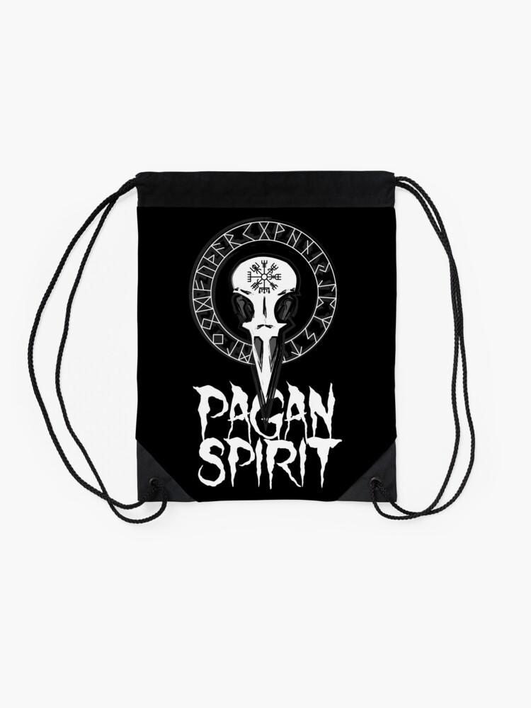 Vista alternativa de Mochila saco Espíritu Pagan - cráneo del cuervo con runas círculo y símbolo de Odin Schutz
